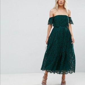 ASOS off the shoulder lace midi dress